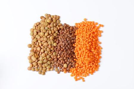 Heap of lentils on white background Reklamní fotografie