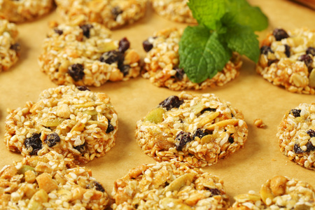 Sesame raisin cookies with pumpkin seeds and almonds Reklamní fotografie - 115159741