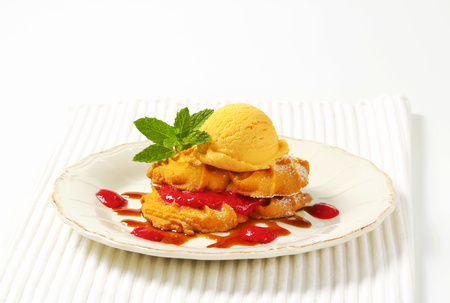 Spritz butter cookies with raspberry sauce and scoop of yellow ice cream Reklamní fotografie - 115159763
