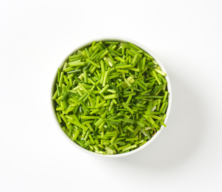 Bowl of fresh chopped chives