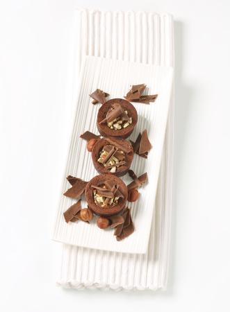Mini chocolate cakes with hazelnut filling