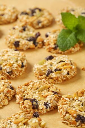 Sesame raisin cookies with pumpkin seeds Foto de archivo