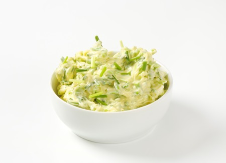 Bowl of homemade chive butter