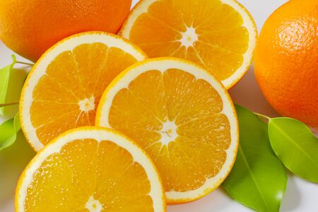 Closeup of fresh oranges slices