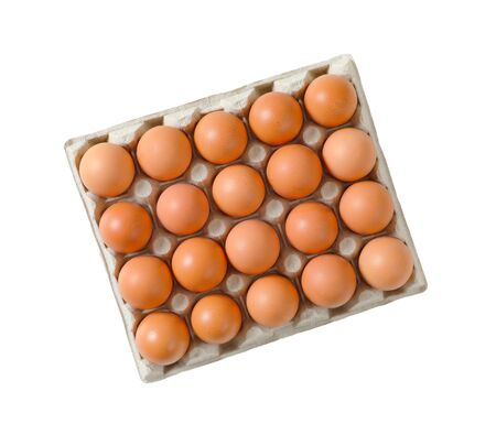 Twenty fresh brown eggs in a paper egg tray isolated on white