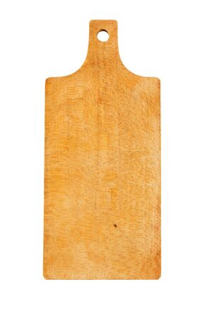 Wooden cutting board with handle isolated on white Standard-Bild