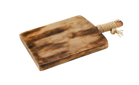 Rustic wooden cutting or serving board with handle isolated on white