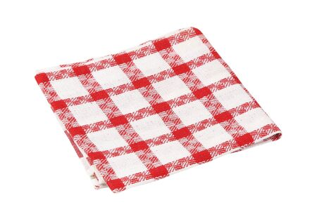 Checked red and white kitchen tea towel or drying-up cloth  isolated on white