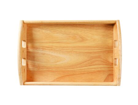 Empty rectangle wooden serving tray isolated on white Zdjęcie Seryjne