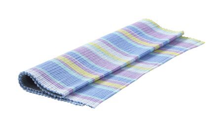 Colorful striped ribbed woven cotton place mat isolated on white Standard-Bild