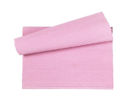 Pink woven cotton placemat isolated on white
