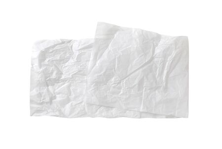 Creased sheet of white wax coated butcher paper isolated on white