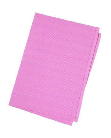 Pink woven cotton place mat folded in half isolated on white Standard-Bild