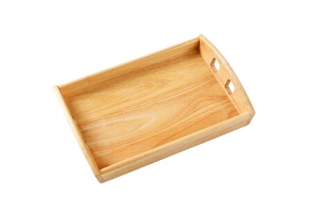 Empty rectangle wooden serving tray isolated on white Standard-Bild