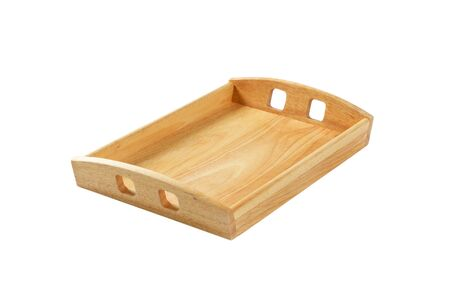 Empty rectangle wooden serving tray isolated on white