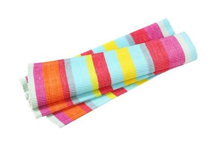 Colorful striped ribbed woven cotton place mat isolated on white Zdjęcie Seryjne