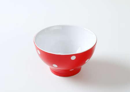 Ceramic red and white polka dot breakfast or rice bowl