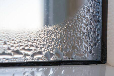 Wet window on frame in house