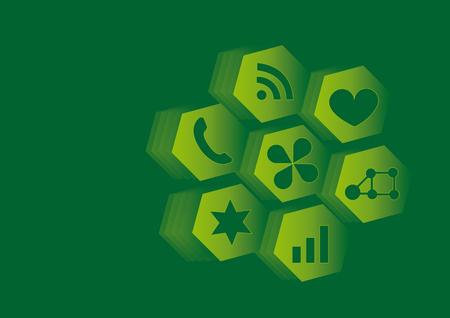 greener: Social media icons vector illustration background greener Illustration