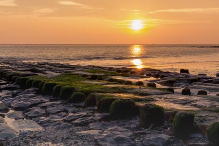 ocean waves: Sunset at sea