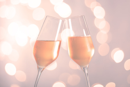 champagne glasses with bokeh background