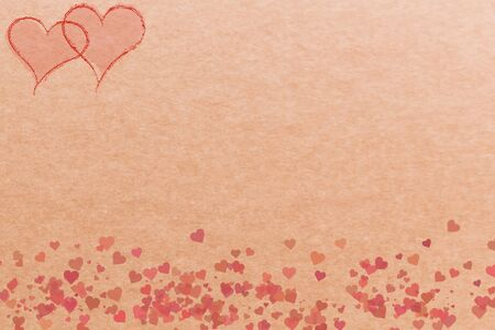 Hearts on a brown background for cards and banners