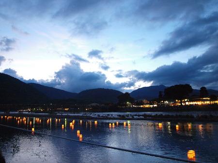 Obon Festival at Arashiyama, Japan