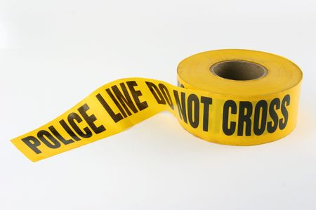 containment: Police Containment Tape DO NOT CROSS Stock Photo