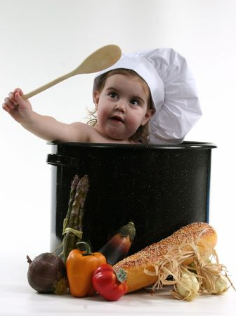 Baby in a Chef Pot Stock Photo - 269965