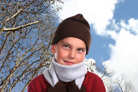 Young boy in winter apparel photo