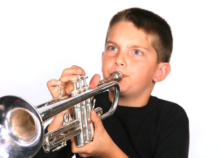 Young Boy Playing Trumpet photo