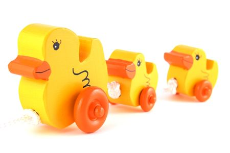 squeaky clean: Wooden Rubber Duck Duckie Toy Stock Photo