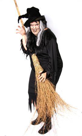jackolantern: Scary Halloween Witch Woman Stock Photo