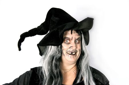 Scary Halloween Witch Woman Zdjęcie Seryjne