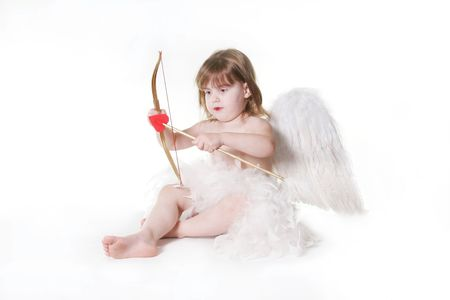 Child Valentine Cupid Isolated on White Stock Photo