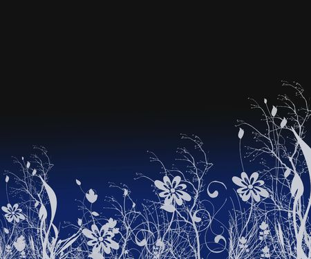 Grunge Silhouette Floral Background With Copy Space Stock Photo - 344804