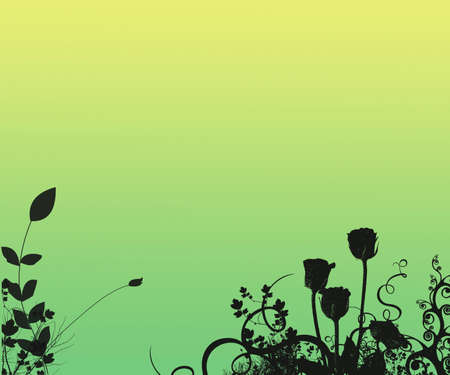 Grunge Silhouette Floral Background With Copy Space Stock Photo - 344768