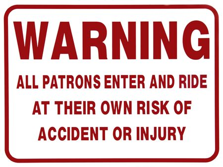 Accident Warning Sign For Patrons 스톡 콘텐츠 - 395728