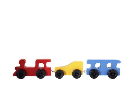 Isolated Wood Toy Train on White Stock Photo