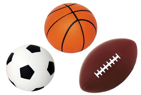 pigskin:  Isolated on White Soccer Basket and Foot Ball