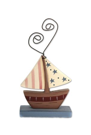 Tole Painted Wooden Toy Boat photo