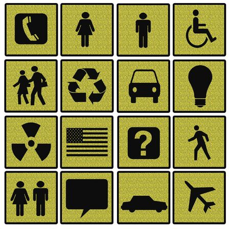 Symbols of Modern Life on Yellow Textured Squares photo