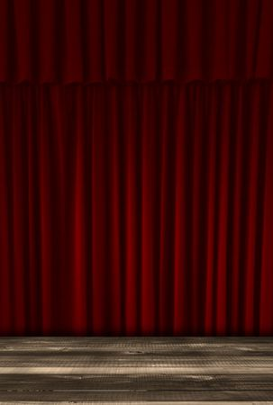 Wooden Stage With Red Draped Theatre Curtains