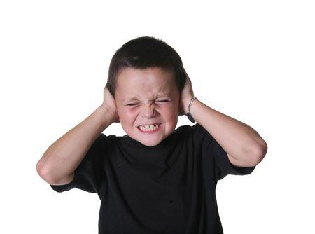 ruido: O�dos De la Cubierta Del Ni�o Joven Del Fuerte Ruido