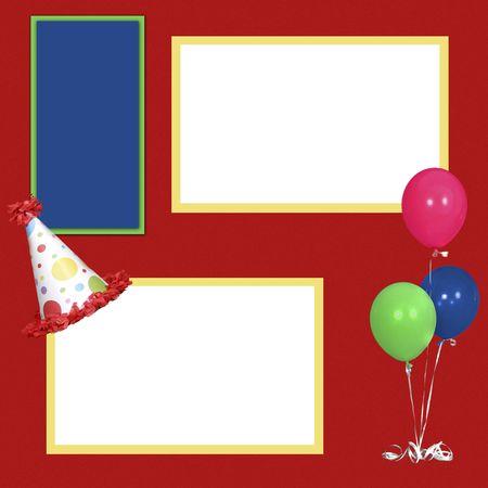 photo album: Birthday Theme  Square Frame Scrapbook Template-Insert your Photos! Stock Photo