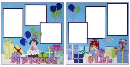 page layout: Birthday Girl Scrapbook Page Layout Handcrafted From Paper Stock Photo