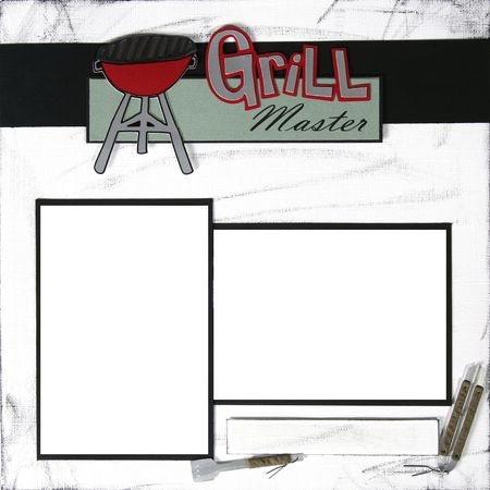 bar b que: Grill Master Square Frame Scrapbook Template-Insert your Photos!