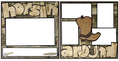 Western Theme Square Frame Scrapbook Template-Insert your Photos!  photo