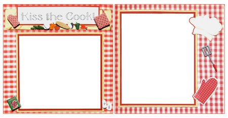 scrapbook homemade: Chef Square Frame Scrapbook Template-Insert your Photos!  Stock Photo