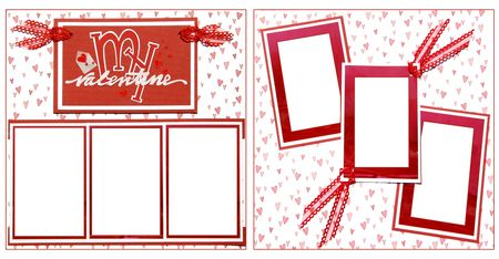 Valentine Theme Square Frame Scrapbook Template-Insert your Photos!  photo